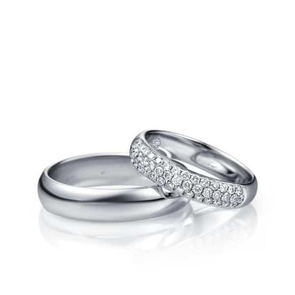 Perhiasan emas berlian white gold 18K diamond King and Queen