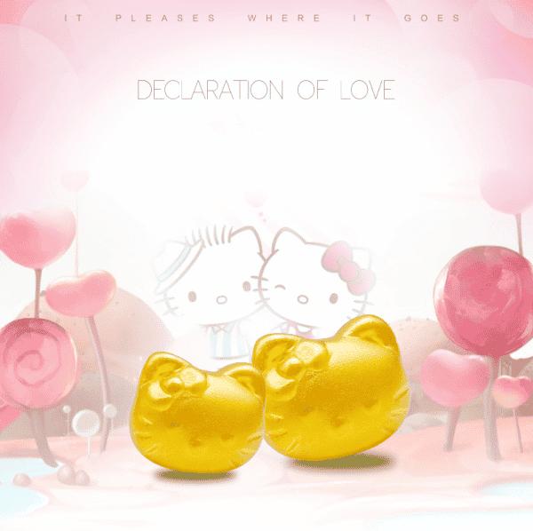 Perhiasan emas berlian solid gold anting Hello Kitty terbaru 24K earring