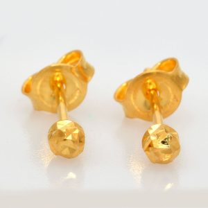 Perhiasan emas Round Sparkle Earring Gold Anting Emas 18K