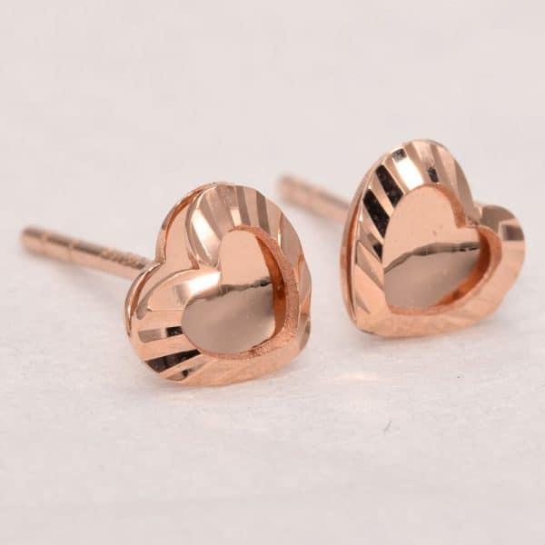 Perhiasan emas gold anting Love D4 Rose Gold Anting Emas 18K