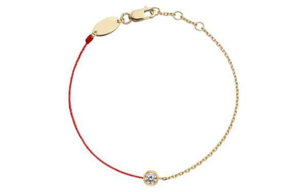 Tiaria 18K Gold Pure Double Chain and String Bracelet Red Baby Bracelet