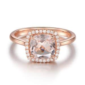 9K Lustrous Pink Crystal Ring